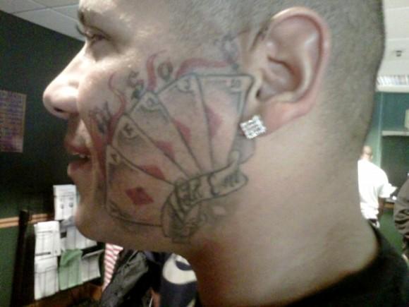 wsop face tattoo poker royal flush diamonds