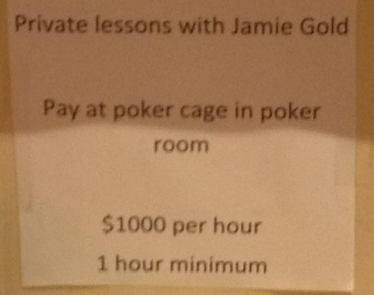 jamie gold poker lessons $1000 an hour